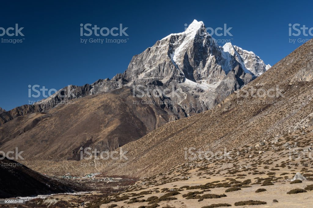 Taboche mountain peak above Dingboche village, Everest region, Nepal stock photo