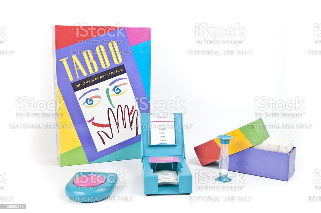 Taboo Word Game with Equipment Displayed stock photo