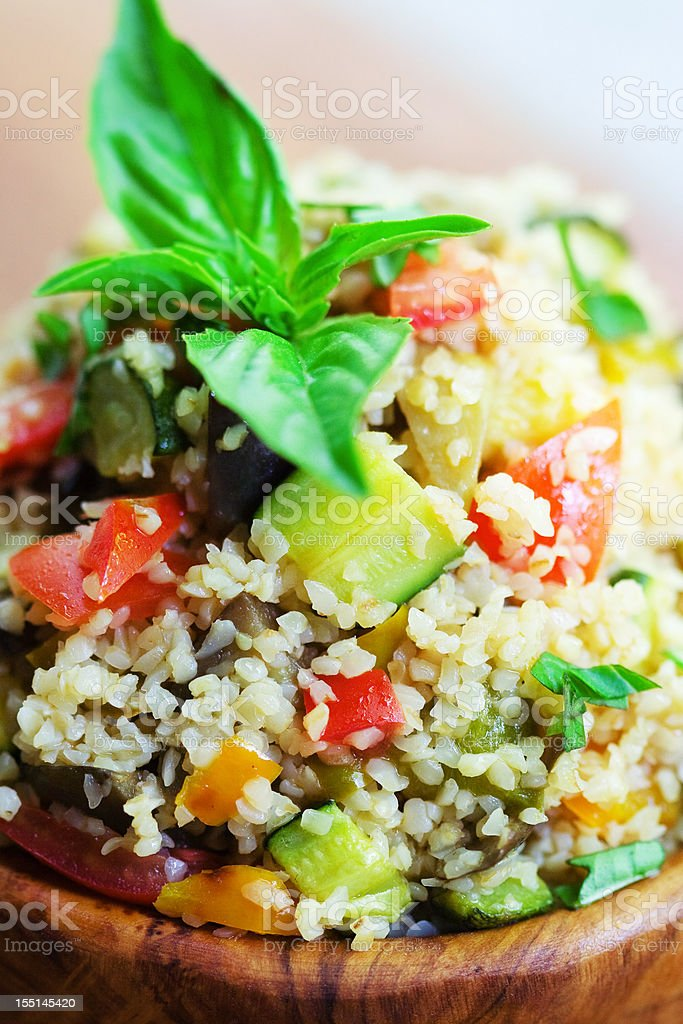 Tabouleh Salad in an Olive Wood Bowl royalty-free stock photo