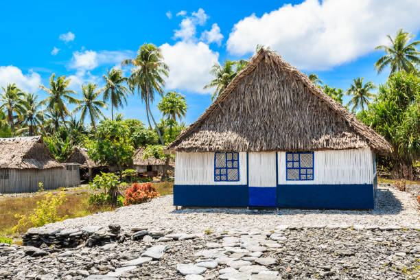 Tabuaeran, Fanning Island, Republik von Kiribati.Traditional Haus in Fanning Island. – Foto