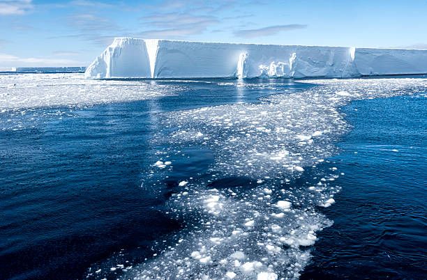 Tabular Iceberg and Brash Ice, Antarctica This tabular iceberg is part of the B-15 iceberg that broke off from Antarctica ice shelf in 1980 in the Ross Sea.  This is part of a piece of that ieceberg referredt to as B-15y and was seen in the Antarctic Sound in early November, 2015. ice floe stock pictures, royalty-free photos & images