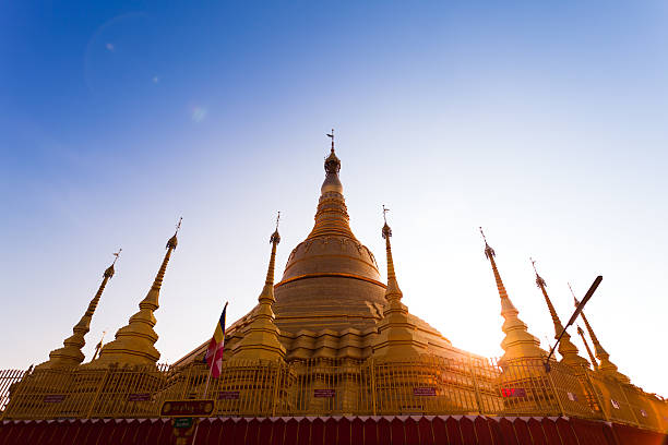 Tachileik Shwedagon Temple in Burma stock photo