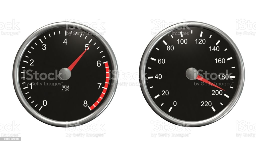 Tachometer and speedometer. Round gauges in chrome frames isolated on white background stock photo