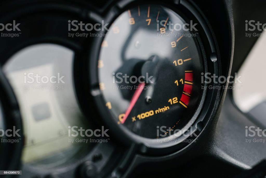 Tachometer in tourist motorcycle stock photo