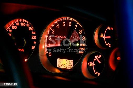 A Tachometer in a Sports Car.