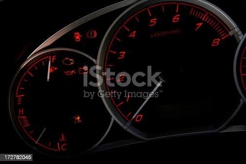 The Tachometer & Gauges of a Car.