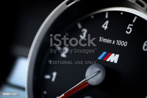 Bucharest, Romania - July 4, 2013: Detail of the tachometer of a BMW M3 car. The BMW M3 is a high-performance version of the BMW 3-Series, developed by BMW's motorsport division, BMW M.