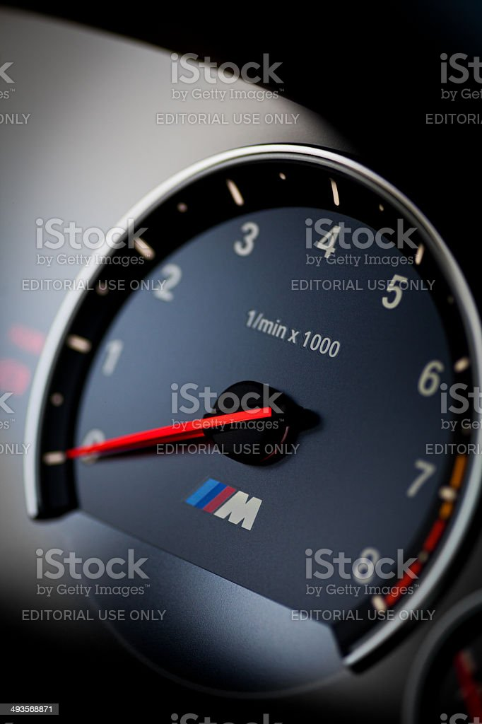 BMW M3 tachometer stock photo