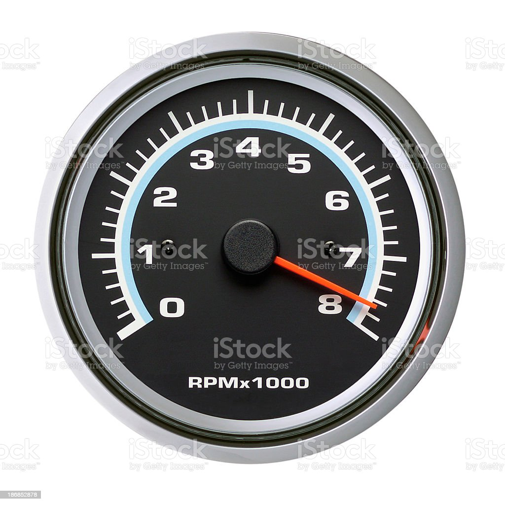 Tachometer, Speedometer, Isolated on white royalty-free stock photo