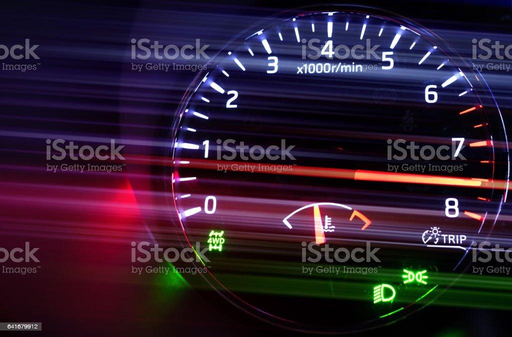 Tachometer with hi speed in dark stock photo