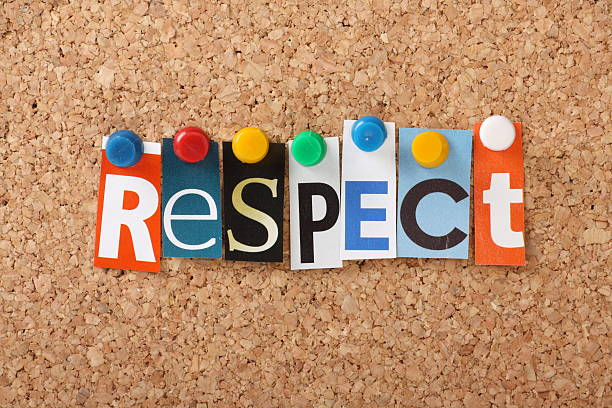 Tacked letters of different fonts spell out respect on cork The word Respect in cut out magazine letters pinned to a cork notice board dignity stock pictures, royalty-free photos & images