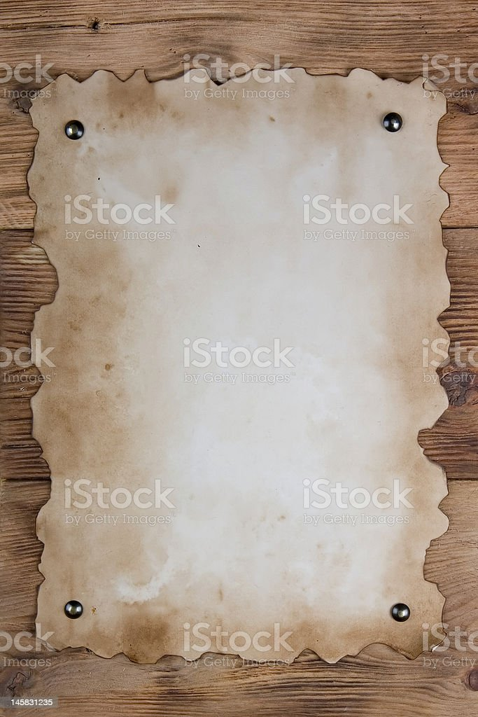 Tacked old paper stock photo