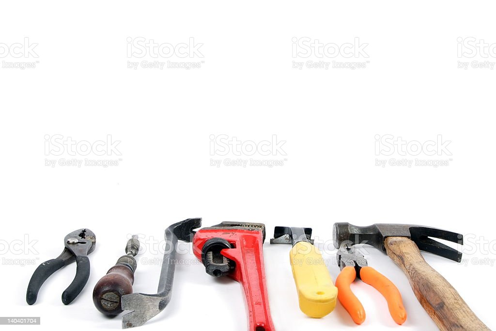 Tackling home repairs, for border or background use royalty-free stock photo