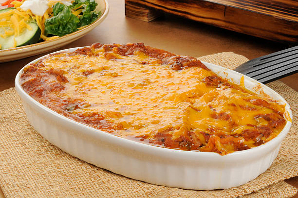 taco casserole - casserole stock photos and pictures