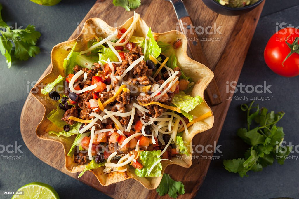 Taco Salad in a Tortilla Bowl stock photo