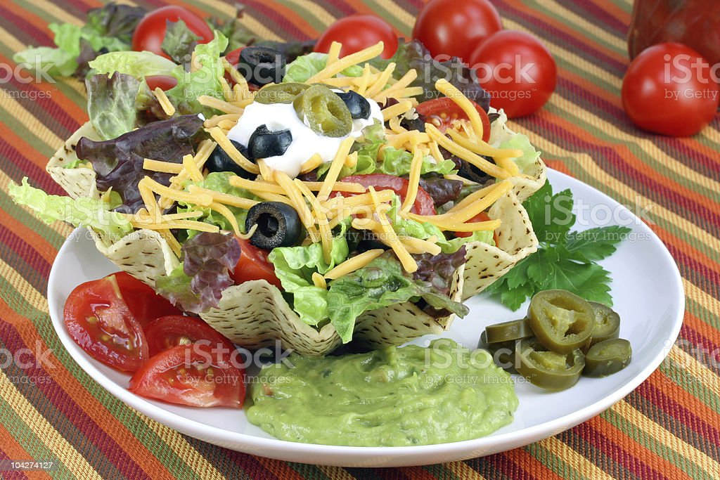 Taco Salad in Corn Tortilla Bowl stock photo