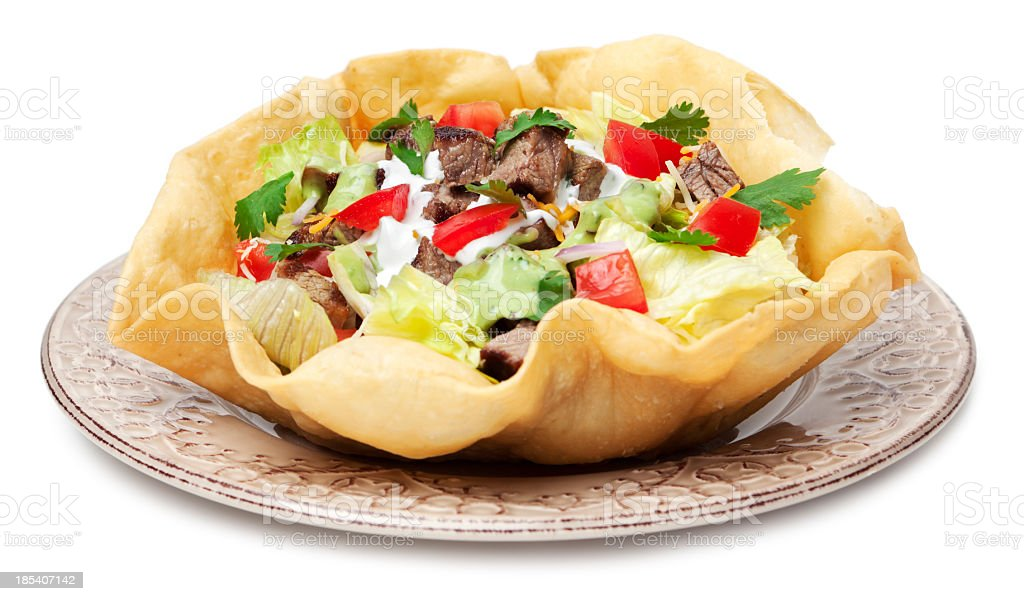 Taco salad plate stock photo