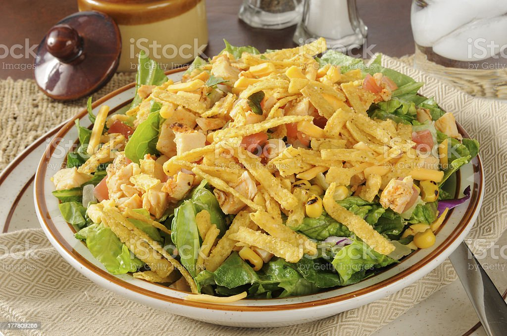 Taco salad with chicken stock photo
