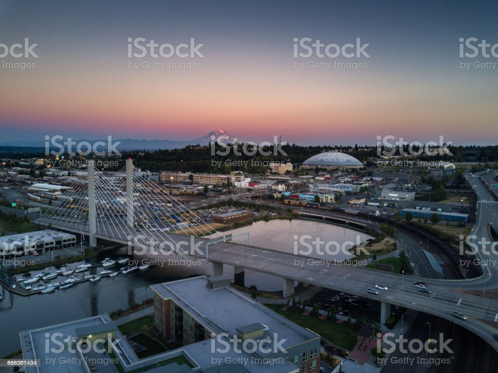 Tacoma at Sunset - Aerial View stock photo