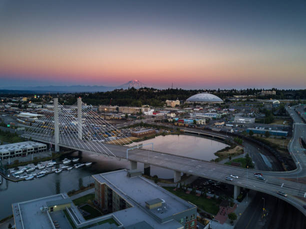tacoma at sunset - aerial view - halbergman stock pictures, royalty-free photos & images