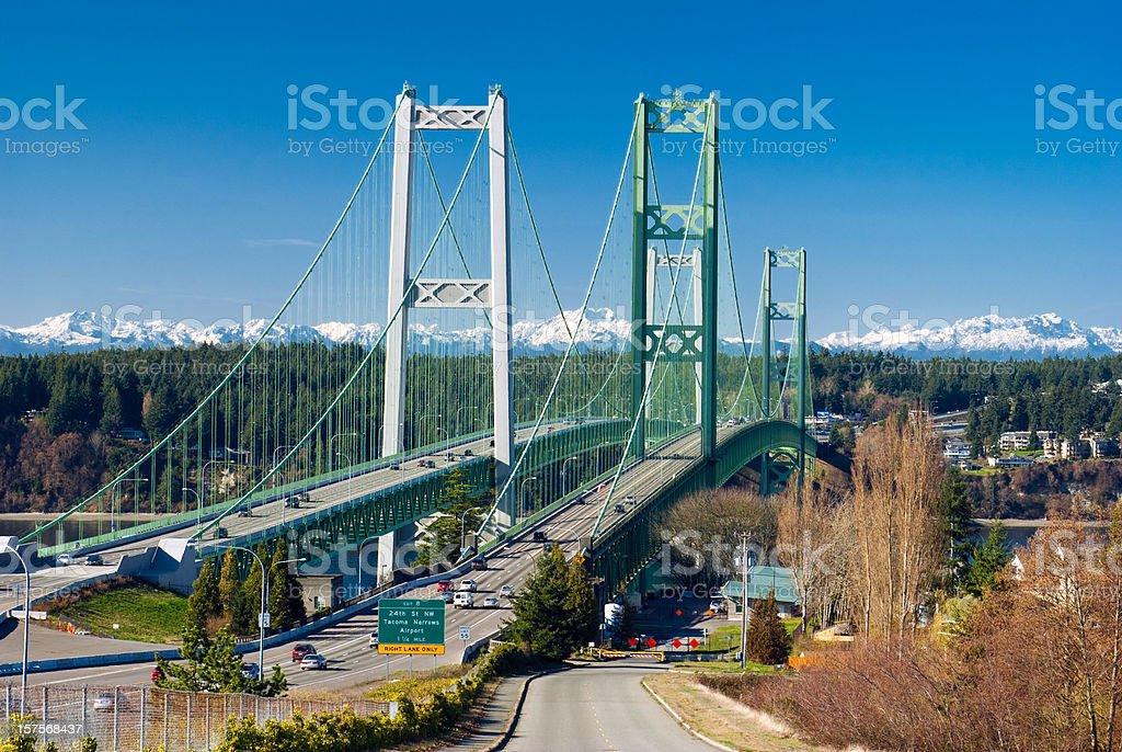 The Tacoma Narrows Bridge in Washington state linking the city of...