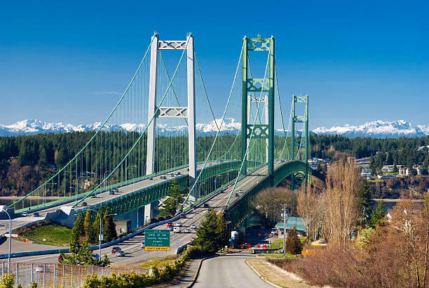 Tacoma Narrows Bridge in Washington state The Tacoma Narrows Bridge in Washington state linking the city of Tacoma with Gig Harbor of the Kitsap Peninsula, with the Olympic Mountain range in the distance. gig harbor stock pictures, royalty-free photos & images