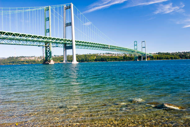 Tacoma Narrows Bridge Narrows Bridge in Tacoma Washington tacoma stock pictures, royalty-free photos & images