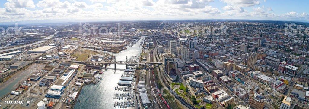 Tacoma, Washington Aerial Overview City Downtown stock photo