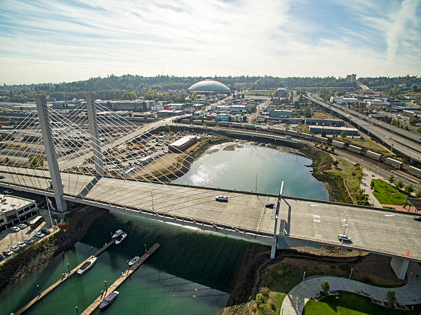 Tacoma Washington Aerial View From Foss Waterway Bridge Tacoma Washington Aerial View From Foss Waterway Bridge tacoma stock pictures, royalty-free photos & images