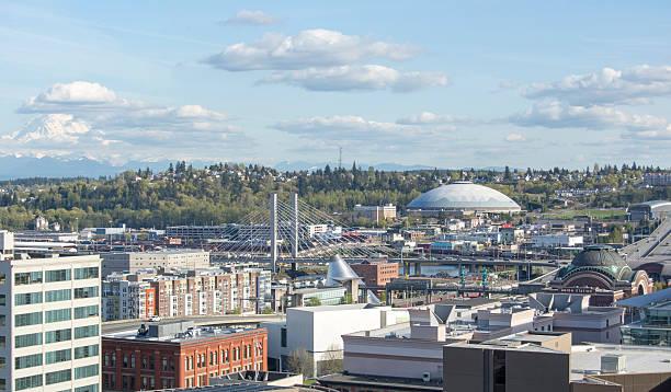 tacoma, washington and tacoma dome view of downtown tacoma, washington tacoma stock pictures, royalty-free photos & images