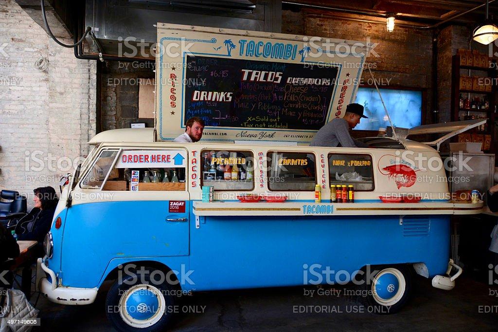 Tacombi Food truck at gansevoort food market Manhattan stock photo