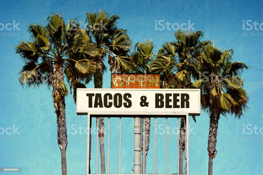 tacos and beer sign stock photo