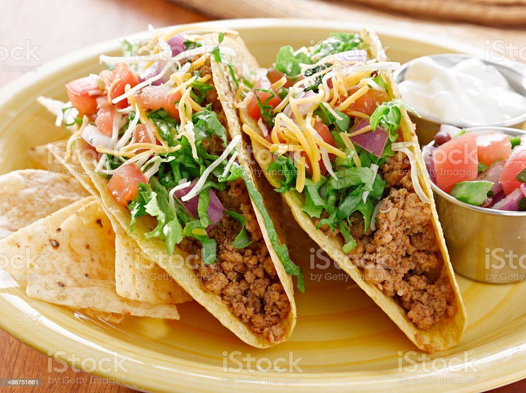 Tacos on a platter with tortillas - mexican food stock photo