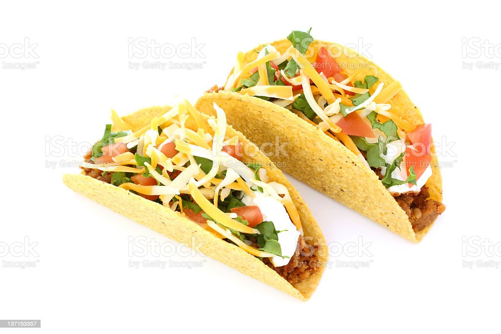 Tacos With Refried Beans stock photo