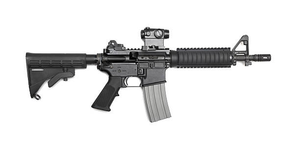 """AR-15 10,5"""" (M4A1 CQBR) tactical carbine AR-15 10,5"""" (M4A1 CQBR, Mk18 Mod.0) tactical carbine with the micro collimator (red dot) sight. Isolated on a white background. Weapon series. ar 15 stock pictures, royalty-free photos & images"""