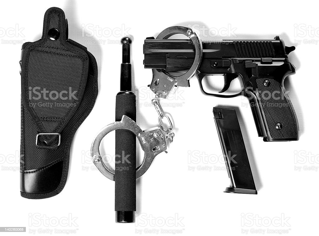 Tactical gear on white background stock photo