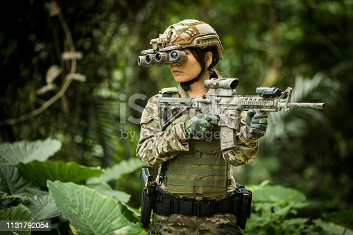 Military/airsoft soldiers in the jungle wearing tactical gear and with rifles