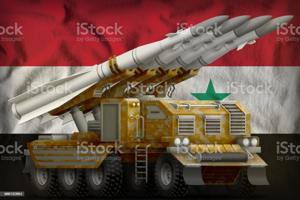 tactical short range ballistic missile with sand camouflage on the Syrian Arab Republic national flag background. 3d Illustration - Royalty-free Arma de Fogo Foto de stock