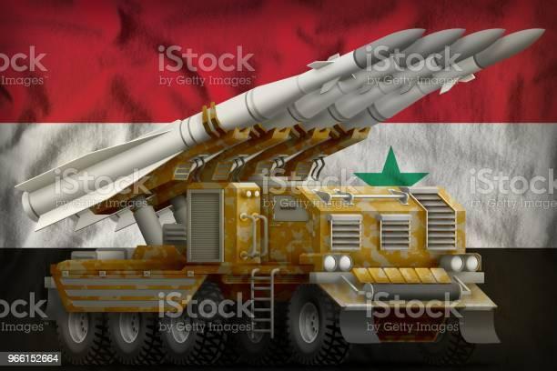 Taktiska Kort Räckvidd Ballistiska Missiler Med Sand Kamouflage På Syrien Flagga Bakgrund 3d Illustration-foton och fler bilder på Fara