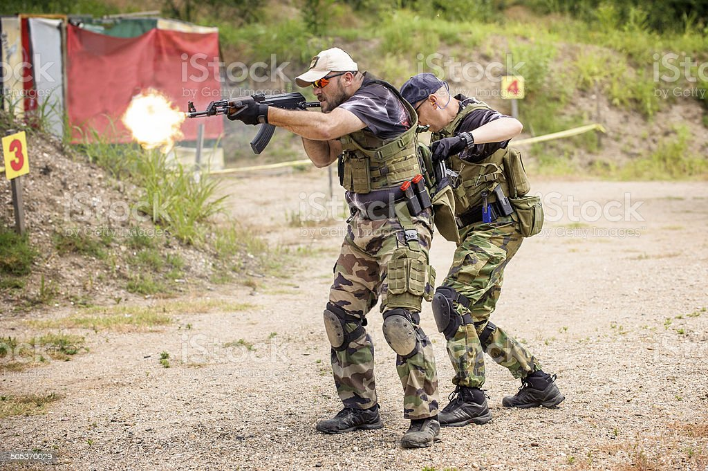 Tactical Training. Outdoor Shooting Range stock photo