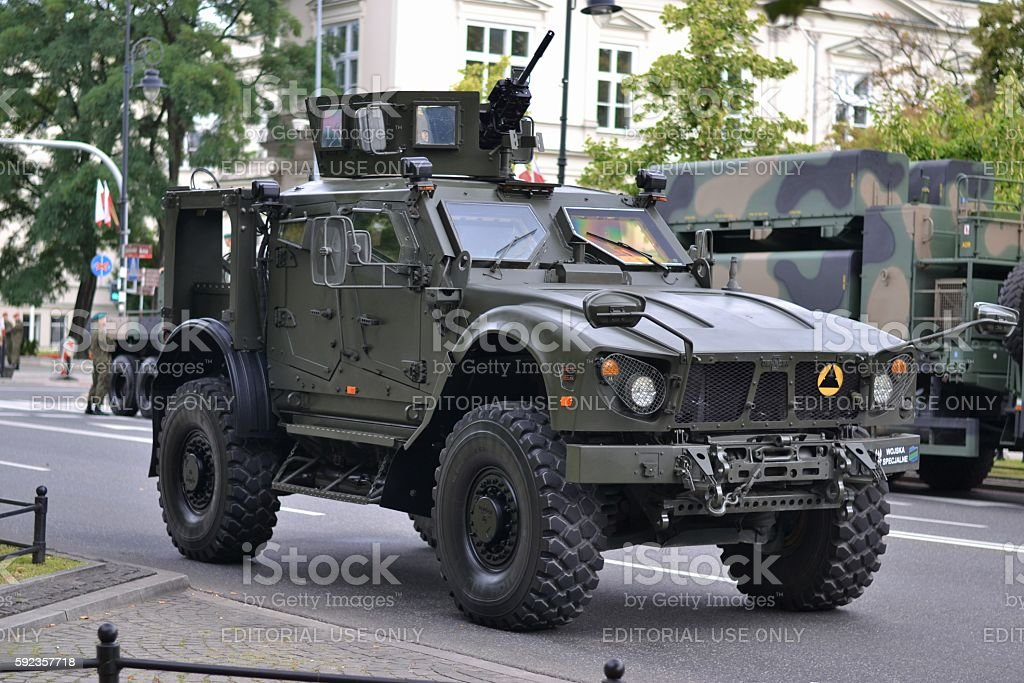 Tactical vehicle Oshkosh M-ATV MRAP on the street stock photo