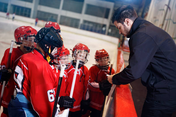 tactics coach in game hockey in ice stock photo