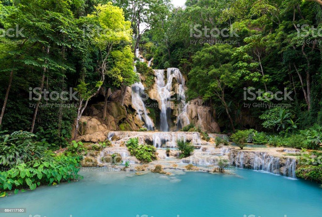 Tad Kwang Si Waterfall Land mark in Luang Prabang, Laos ,beautiful turquoise color water and Tropical forest  at Waterfall in north Lao royaltyfri bildbanksbilder
