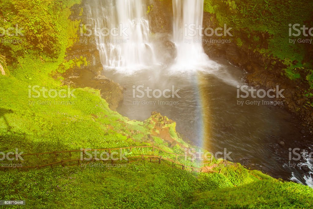 Tad Yeung waterfall in tropical country, Laos stock photo