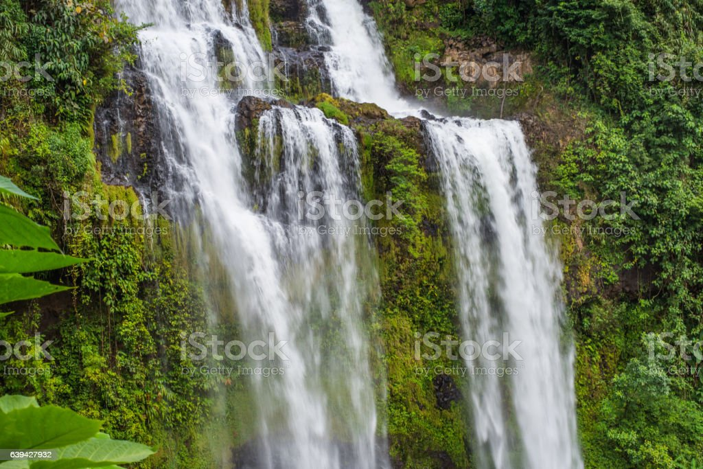 Tad Yeung waterfall in tropical country,Laos. stock photo