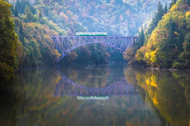 Tadami railway at Fukushima prefecture in autumn stock photo