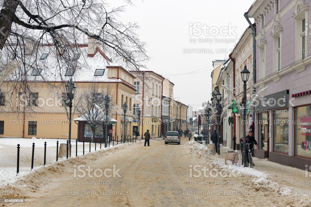 Tadeusz Kosciuszko winter street in Rzeszow, Poland. stock photo
