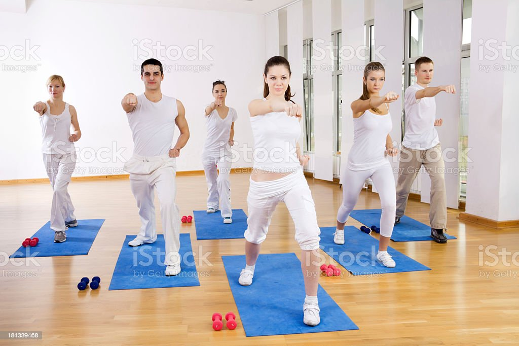 Tae Bo class at the gym. royalty-free stock photo
