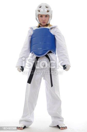 Martial artist in full sparring gear.