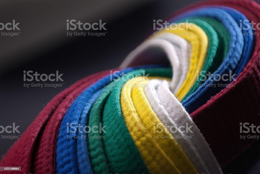 Taekwondo Belts, Dark Background stock photo